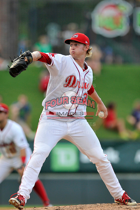Starting pitcher Logan Boyd (39) of the Greenville Drive delivers a pitch in a game against the Lakewood BlueClaws on Thursday, June 23, 2016, at Fluor Field at the West End in Greenville, South Carolina. Lakewood won, 8-7. (Tom Priddy/Four Seam Images)
