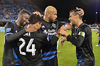 San Jose, CA - Saturday, March 11, 2017: Shaun Francis, Nick Lima, Victor Bernardez, Chris Wondolowski during a Major League Soccer (MLS) match between the San Jose Earthquakes and the Vancouver Whitecaps FC at Avaya Stadium.