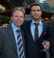 Austria, Kitzbuhel, Juli 15, 2015, Tennis, Davis Cup, Dutch team, Official dinner, Erik Poel and Jean-Julien Rojer<br /> Photo: Tennisimages/Henk Koster