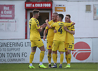 Fleetwood Town's Ashley Hunter celebrates  scoring  his sides second goal with Fleetwood Town's Paddy Madden and his fellow team mates<br /> <br /> Photographer Rachel Holborn/CameraSport<br /> <br /> Emirates FA Cup First Round - Alfreton Town v Fleetwood Town - Sunday 11th November 2018 - North Street - Alfreton<br />  <br /> World Copyright &copy; 2018 CameraSport. All rights reserved. 43 Linden Ave. Countesthorpe. Leicester. England. LE8 5PG - Tel: +44 (0) 116 277 4147 - admin@camerasport.com - www.camerasport.com
