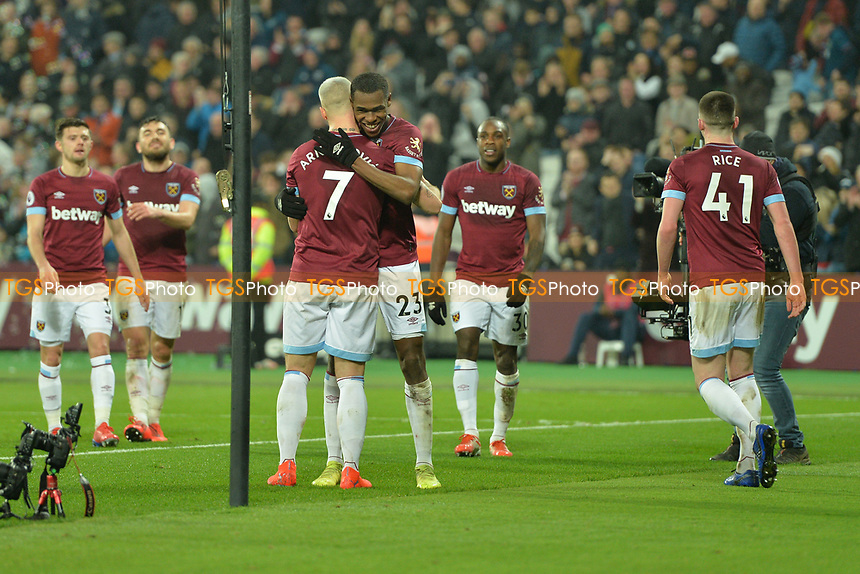 Issa Diop of West Ham United celebrates with Marko Arnautovic of West Ham United during West Ham United vs Fulham, Premier League Football at The London Stadium on 22nd February 2019