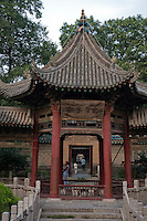 Chinese-style pavilion in the gardens of the Great Mosque of Xi'an, the oldest mosque in the country, Xi'an, Shaanxi, China.