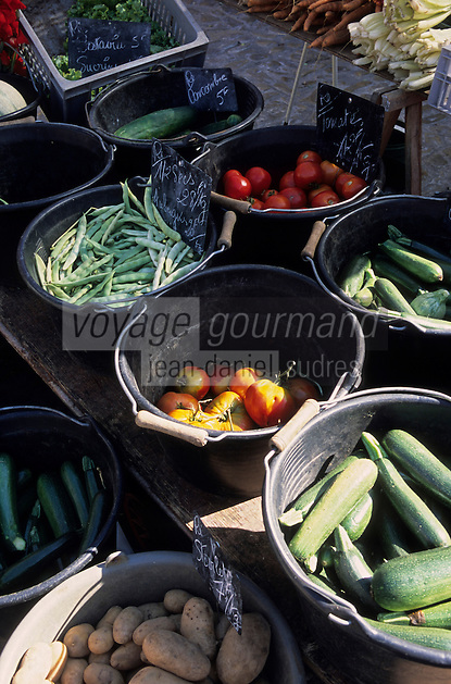 Europe/France/Poitou-Charentes/17/Charente-Maritime/Ile de Ré/Ars-en-Ré : Etal de légumes sur la marché