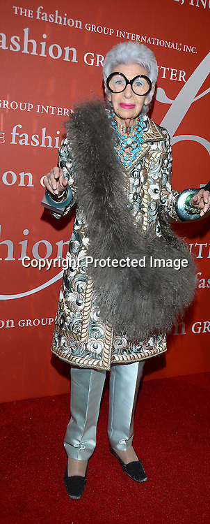 Iris Apfel attends the Fashion Group International's Night of Stars Gala on October 22, 2013 at Cipriani Wall Street in New York City.