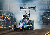 Jul 18, 2020; Clermont, Indiana, USA; NHRA top fuel driver Clay Millican during qualifying for the Summernationals at Lucas Oil Raceway. Mandatory Credit: Mark J. Rebilas-USA TODAY Sports