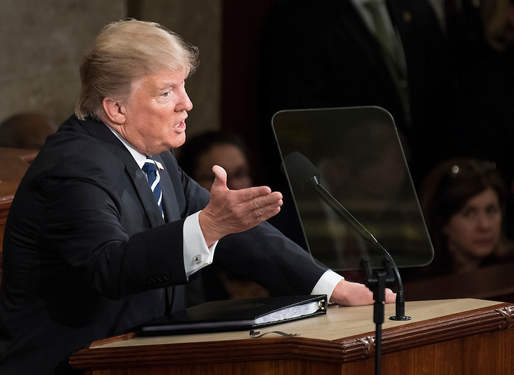 UNITED STATES - FEBRUARY 28: President Donald Trump deliver his address to a joint session of Congress on Tuesday, Feb. 28, 2017. (Photo By Bill Clark/CQ Roll Call)