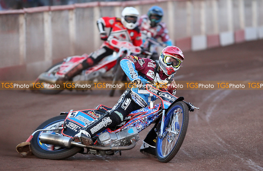 Heat 4: Davey Watt (red), Robert Mear (blue) and Kenni Larsen (white) - Lakeside Hammers vs Peterborough Panthers, Elite League Speedway at the Arena Essex Raceway, Pufleet - 10/05/13 - MANDATORY CREDIT: Rob Newell/TGSPHOTO - Self billing applies where appropriate - 0845 094 6026 - contact@tgsphoto.co.uk - NO UNPAID USE.