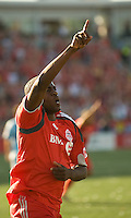 12 September 2009:  Toronto FC forward O'Brian White #17 celebrates his goal during MLS action at BMO Field Toronto in a game between Colorado Rapids and Toronto FC. .Toronto FC won 3-2..