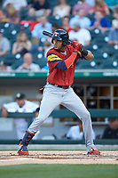Victor Reyes (17) of the Toledo Mud Hens at bat against the Charlotte Knights at BB&T BallPark on April 23, 2019 in Charlotte, North Carolina. The Knights defeated the Mud Hens 11-9 in 10 innings. (Brian Westerholt/Four Seam Images)