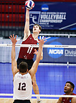 KENOSHA, WI - APRIL 28:  Stevens Institute's Dylan DeBoer spikes at the Springfield College defense at the Division III Men's Volleyball Championship held at the Tarble Athletic and Recreation Center on April 28, 2018 in Kenosha, Wisconsin. (Photo by Steve Woltmann/NCAA Photos via Getty Images)