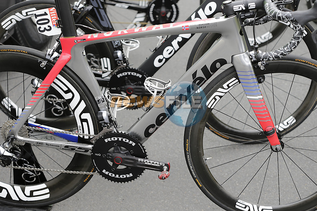 Edvald Boasson Hagen (NOR) Dimension Data Cervelo bike at the team bus before the start of Stage 3 of the 2016 Tour de France, running 223.5km from Granville to Angers, France . 4th July 2016.<br /> Picture: Eoin Clarke | Newsfile<br /> <br /> <br /> All photos usage must carry mandatory copyright credit (&copy; Newsfile | Eoin Clarke)