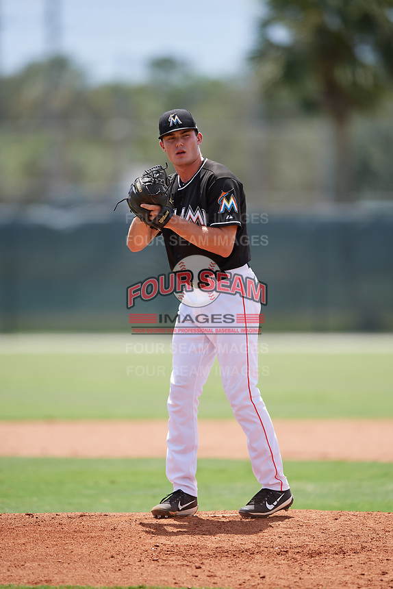 GCL Marlins relief pitcher Cam Baird (36) gets ready to deliver a pitch during a game against the GCL Cardinals on August 4, 2018 at Roger Dean Chevrolet Stadium in Jupiter, Florida.  GCL Marlins defeated GCL Cardinals 6-3.  (Mike Janes/Four Seam Images)