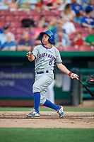 South Bend Cubs shortstop Clayton Daniel (6) follows through on a swing during a game against the Kane County Cougars on July 23, 2018 at Northwestern Medicine Field in Geneva, Illinois.  Kane County defeated South Bend 8-5.  (Mike Janes/Four Seam Images)
