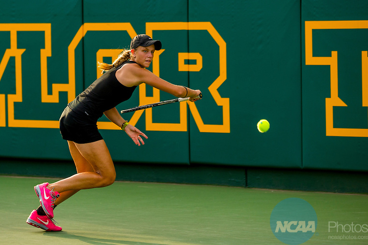 19 MAY 2015:  Ashley Antal chases down a backhand during her match with UCLA's Kailtlin Ray at The Division I Women's Tennis Championship, held at the Hurd Tennis Center on the Baylor University campus in Waco, TX.  Vanderbilt defeated UCLA 4-2 to win the team national title.  Darren Carroll/NCAA Photos to win the team national title.  Darren Carroll/NCAA Photos
