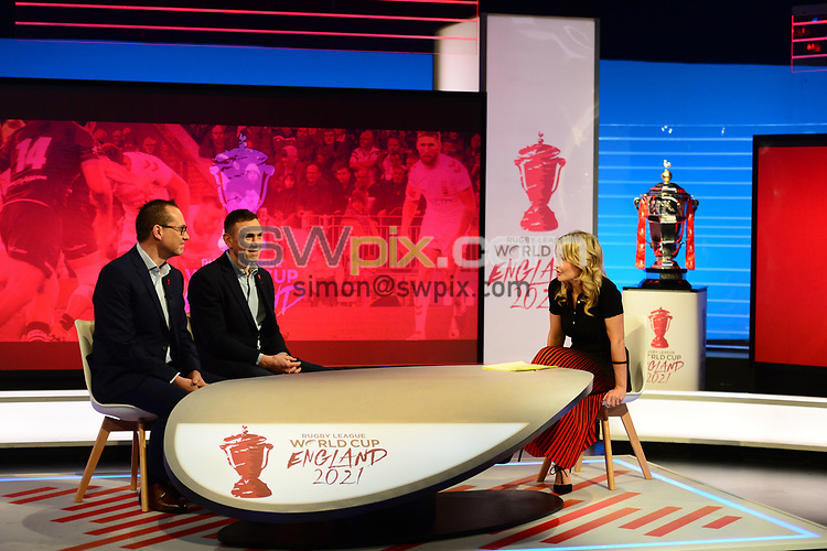 Picture by Simon Wilkinson/SWpix.com - 28/01/2019 - RLWC 2021 Rugby League World Cup Host City Reveal BBC Match of the Day Studio - Dock 10 Media City Salford<br /> - Helen Skelton Kevin Sinfield, Jon Dutton , James Simpson Jodie Cunningham