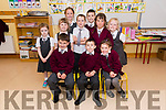 Oban Holden (front centre) on his first day at school, here pictured with pupils from Rang a Dhó, Rang a hAoin and Naionan Mhora, at Scoil an Ghleanna.