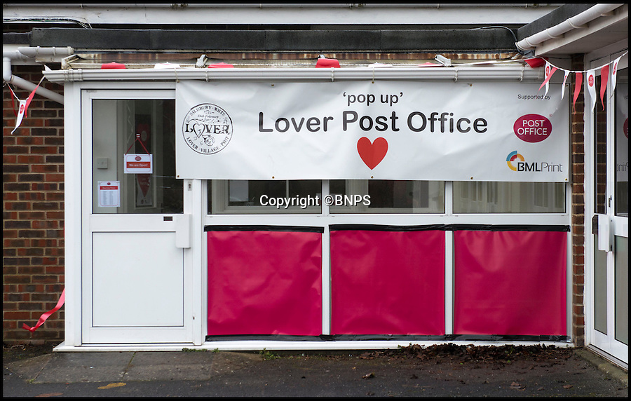 BNPS.co.uk (01202 558833)<br /> Pic: TomWren/BNPS<br /> <br /> The front of the pop-up post office.<br /> <br /> A British village is cashing in on the cupid effect this Valentine's Day by launching its own postal service so anyone can send a card from the 'world's most romantic village'.<br /> <br /> The tiny village of Lover in Wiltshire has launched the 'Lover Post' with limited edition cards and a special post mark showing it has been sent from the tender-hearted village.<br /> <br /> The quirky gimmick is part of a campaign to save the once-thriving village for the local community.