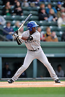 Center fielder Mylz Jones (7) of the Asheville Tourists bats in a game against the Greenville Drive on Thursday, April 7, 2016, at Fluor Field at the West End in Greenville, South Carolina. Greenville won, 4-3. (Tom Priddy/Four Seam Images)