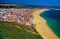 View from Sitio looking down on the beach at Nazare, Portugal