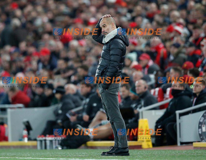 Josep Guardiola manager of Manchester City reflects in the dying minutes of the game during the Premier League match at Anfield, Liverpool. Picture date: 10th November 2019. Picture credit should read: Darren Staples/Sportimage PUBLICATIONxNOTxINxUK SPI-0311-0077<br /> Liverpool 10-11-2019 Anfield <br /> Premier League 2019/2020 <br /> Liverpool Vs Manchester City <br /> Foto Imago/Insidefoto <br /> ITALY ONLY