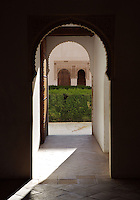 Passageway, Courtyard of the Lions, 1362 ? 1391, Muhammad V, Nasrid Palaces, The Alhambra, Granada, Andalusia, Spain. Picture by Manuel Cohen
