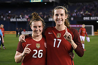 San Diego, CA - Sunday January 21, 2018: Savannah McCaskill, Tierna Davidson prior to an international friendly between the women's national teams of the United States (USA) and Denmark (DEN) at SDCCU Stadium.
