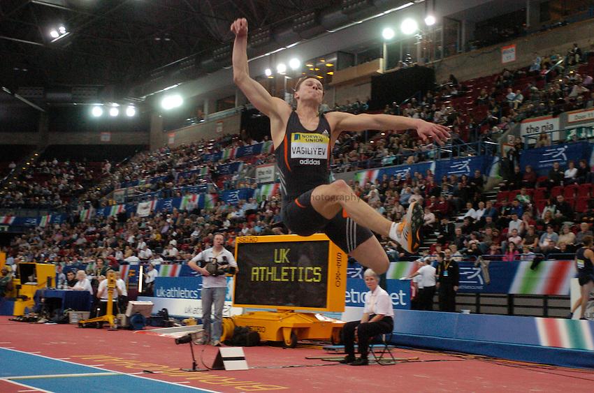 Photo: Richard Lane..Norwich Union Indoor Grand Prix, Birmingham. 17/02/2007. .Ukraine's Valeriy Vasiliyev in the men's long jump.