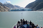 Alaska, Cruising the Southeast wilderness waterways on the Spirit of Discovery.  Endicott Arm and Dawes Glacier, scenery, glacier and cruise ship. Glacier viewing..Photo #: alaska10355 .Photo copyright Lee Foster, 510/549-2202, lee@fostertravel.com, www.fostertravel.com..