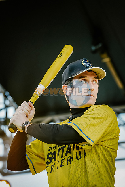 Baseball skills time for Tour de France Champion Geraint Thomas (WAL) at the media day before the 2018 Saitama Criterium, Japan. 3rd November 2018.<br /> Picture: ASO/Pauline Ballet | Cyclefile<br /> <br /> <br /> All photos usage must carry mandatory copyright credit (&copy; Cyclefile | ASO/Pauline Ballet)