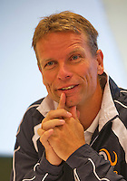 Austria, Kitzbuhel, Juli 14, 2015, Tennis, Davis Cup, Training Dutch team at the the press conference, Captain Jan Siemerink,<br /> Photo: Tennisimages/Henk Koster