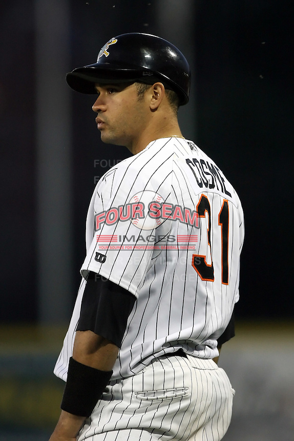 June 10th 2008:  Caonabo Cosme (31) of the Erie Seawolves, Class-AA affiliate of the Detroit Tigers, coaches first base during a game at Jerry Uht Park in Erie, PA.  Photo by:  Mike Janes/Four Seam Images