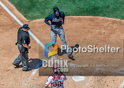 9 July 2017: Atlanta Braves third baseman Freddie Freeman comes home to score in the 6th inning against the Washington Nationals at Nationals Park in Washington, DC. The Nationals defeated the Braves to split their 4-game series. Mandatory Credit: Ed Wolfstein Photo *** RAW (NEF) Image File Available ***