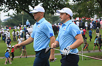 Alex Noren and Paul Dunne (Europe) on the 8th tee during the Saturday Foursomes of the Eurasia Cup at Glenmarie Golf and Country Club on the 13th January 2018.<br /> Picture:  Thos Caffrey / www.golffile.ie