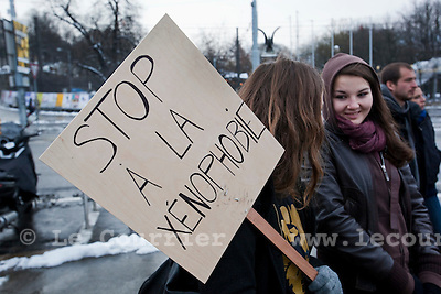 Genève, le 28.11.2010.Manifestation contre la votation des renvois des étrangers criminel..