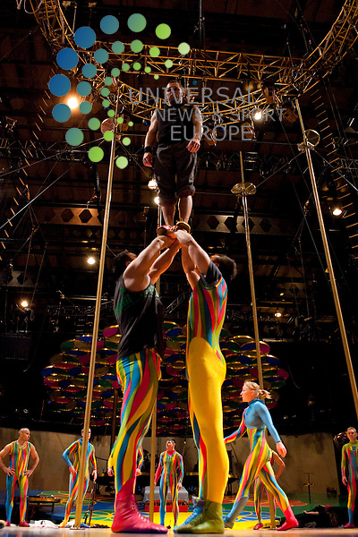 """Performers get in some last minute practice and preparations ahead of their performance tonight at the SECC. The French Canadian performance company, Cirque Du Soleil are presenting the show, 'Saltimbanco' (or'spectacular') as part of their current performance tour...SECC, Finneston Quay, Glasgow, Scotland.  Picture: Euan Anderson/Universal News And Sport (Scotland) 02nd June 2010.Performers get in some last minute practice and preparations ahead of their performance tonight at the SECC. The French Canadian performance company, Cirque Du Soleil are presenting the show, 'Saltimbanco' (which literally means """"to jump on a bench"""") as part of their current performance tour...SECC, Finneston Quay, Glasgow, Scotland.  Picture: Euan Anderson/Universal News And Sport (Scotland) 02nd June 2010."""