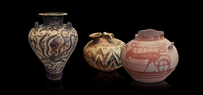 Mycenaean pots and vases depicting octopuses and Mycenaean chariots, National Archaeological Museum Athens. Black Background<br /> <br /> Left: Three handled Palace Style Mycenaean amphora with octpuses and marinescape decorations motifs, Mycenaean cemetery, Argive Prosymna, tomb 2, 15 cnt BC,  Cat no 6725. <br /> <br /> Middle: Mycenaean three handled styrup jar with painted zig zag  and double axesdesigns, Tholos tomb 2 , Myrsinochori, Messenia, 15th cent BC. Cat No 8376.<br /> <br /> Right:Mycenaean pictorial Krater decorated with a horse and chariot, Tiryns Acropolis - 12-14th cent BC.  Cat No 115.