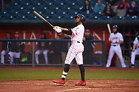 Lansing Lugnuts DJ Neal (7) pauses to watch the ball fly after hitting a home run during a Midwest League game against the Wisconsin Timber Rattlers at Cooley Law School Stadium on May 2, 2019 in Lansing, Michigan. Lansing defeated Wisconsin 10-4. (Zachary Lucy/Four Seam Images)
