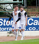 St Johnstone v Inverness Caley Thistle...02.05.15   SPFL<br /> Aaron Doran celebrates his goal with Graeme Shinnie<br /> Picture by Graeme Hart.<br /> Copyright Perthshire Picture Agency<br /> Tel: 01738 623350  Mobile: 07990 594431