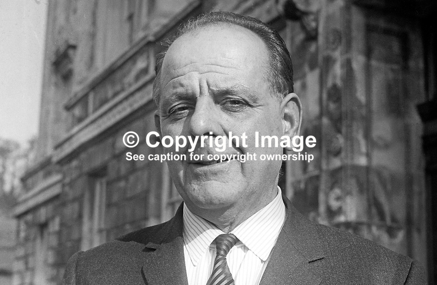 Tom Gormley, MP, Mid-Tyrone, Nationalist Party, in the N Ireland Parliament at Stormont, Belfast. March 1969. 196903000110<br />