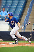 Hunter Oliver (8) of Cleveland High School in McDonald, Tennessee playing for the Chicago Cubs scout team during the East Coast Pro Showcase on July 28, 2015 at George M. Steinbrenner Field in Tampa, Florida.  (Mike Janes/Four Seam Images)