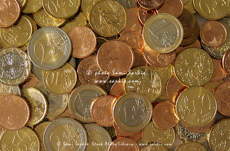 Pile of Euro coins.