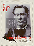 The design for the new stamp of Francis Ledwidge on display at the centenary commemerations at Ledwidge cottage Slane.  Photo:Colin Bell/pressphotos.ie