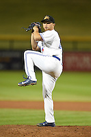 Mesa Solar Sox pitcher Arik Sikula (49) during an Arizona Fall League game against the Peoria Javelinas on October 16, 2014 at Cubs Park in Mesa, Arizona.  Mesa defeated Peoria 6-2.  (Mike Janes/Four Seam Images)