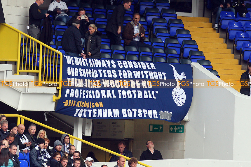 A banner on display remembering former manager Bill Nicholson - Tottenham Hotspur vs Newcastle United - Barclays Premier League action at the White Hart Lane Stadium on 26/10/2014 - MANDATORY CREDIT: Dave Simpson/TGSPHOTO - Self billing applies where appropriate - 0845 094 6026 - contact@tgsphoto.co.uk - NO UNPAID USE