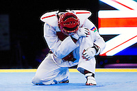 05 MAY 2012 - MANCHESTER, GBR - Ramin Azizov (AZE) of Azerbaijan holds his leg during his men's 2012 European Taekwondo Championships -80kg final against Aaron Cook (GBR) of Great Britain at Sportcity in Manchester, Great Britain .(PHOTO (C) 2012 NIGEL FARROW)