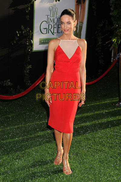"""Alex Lombard.""""The Odd Life of Timothy Green"""" Los Angeles Premiere, Hollywood, California, USA..August 6th, 2012.full length red dress sleeveless white sheer .CAP/ADM/BP.©Byron Purvis/AdMedia/Capital Pictures."""