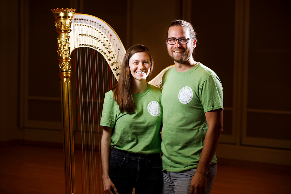 USA International Harp Competition Executive Director Erin Brooker-Miller and Andy Miller pose for a portrait during the 11th USA International Harp Competition at Indiana University in Bloomington, Indiana on Saturday, July 13, 2019. (Photo by James Brosher)