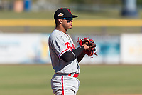Scottsdale Scorpions third baseman Arquimedes Gamboa (7), of the Philadelphia Phillies organization, during an Arizona Fall League game against the Peoria Javelinas at Peoria Sports Complex on October 18, 2018 in Peoria, Arizona. Scottsdale defeated Peoria 8-0. (Zachary Lucy/Four Seam Images)