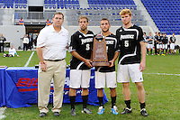 Michael Pereira (8), Matt Marcin (7) and Bryan Minogue (5) of the Providence Friars receive the runners up trophy. The Louisville Cardinals defeated the Providence Friars 3-2 in penalty kicks after playing to a 1-1 tie during the finals of the Big East Men's Soccer Championship at Red Bull Arena in Harrison, NJ, on November 14, 2010.