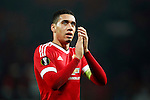 Chris Smalling of Manchester United applauds the fans during the UEFA Europa League match at Old Trafford. Photo credit should read: Philip Oldham/Sportimage